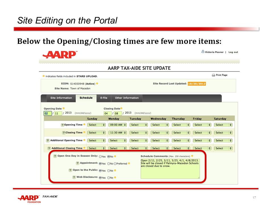 17 Site Editing on the Portal Below the Opening/Closing times are few more items: