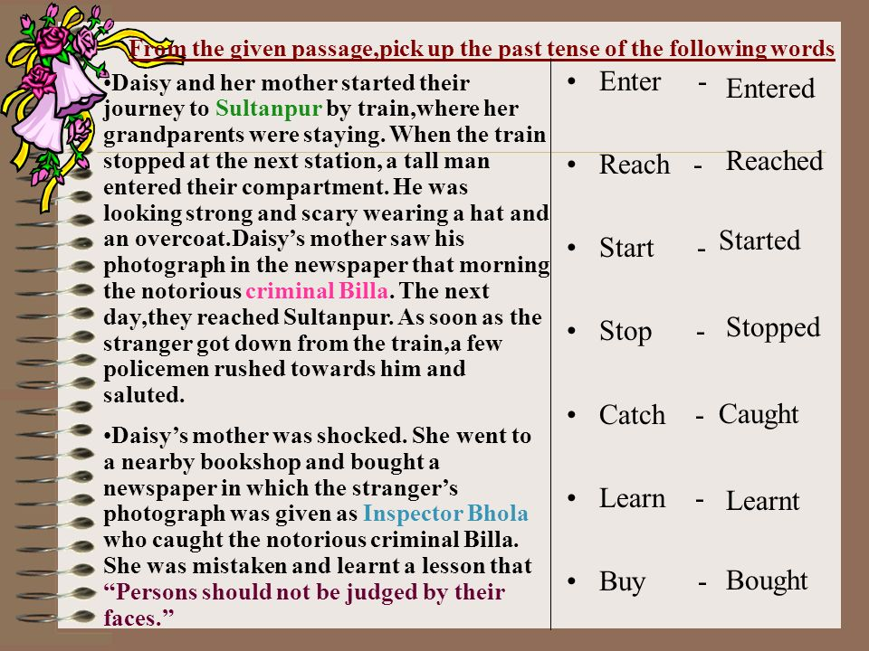 From the given passage,pick up the past tense of the following words Enter - Reach - Start - Stop - Catch - Learn - Buy - Entered Reached Started Stopped Caught Learnt Bought Daisy and her mother started their journey to Sultanpur by train,where her grandparents were staying.