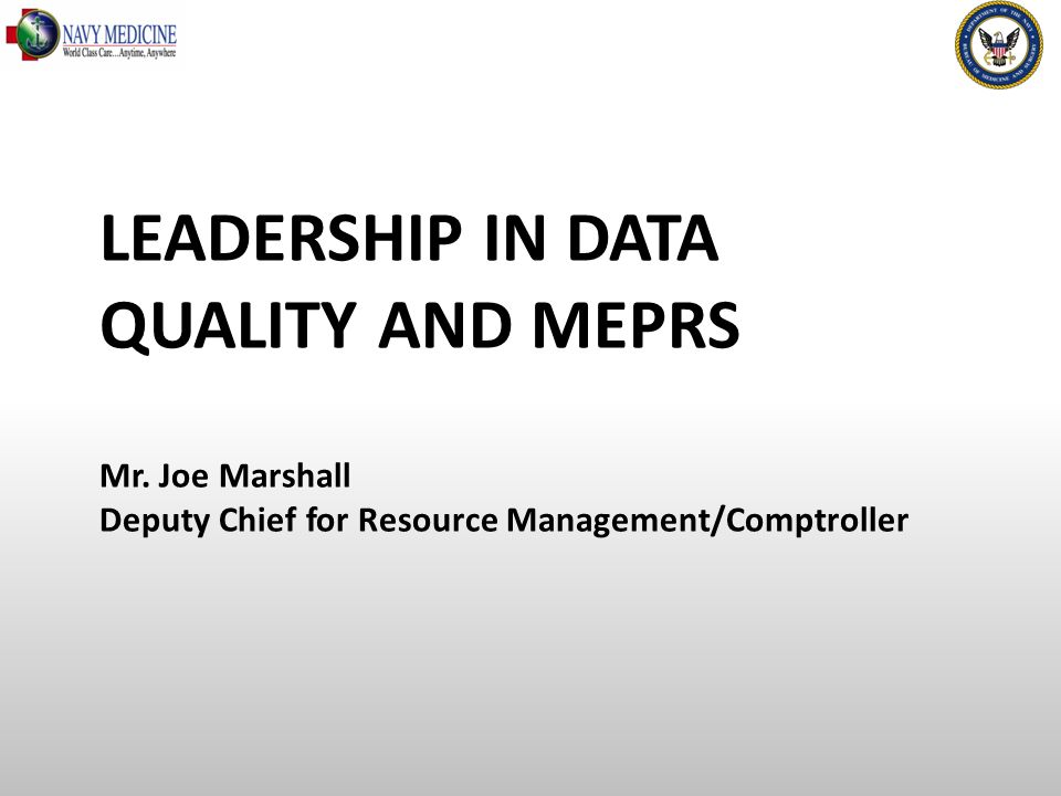 LEADERSHIP IN DATA QUALITY AND MEPRS Mr.