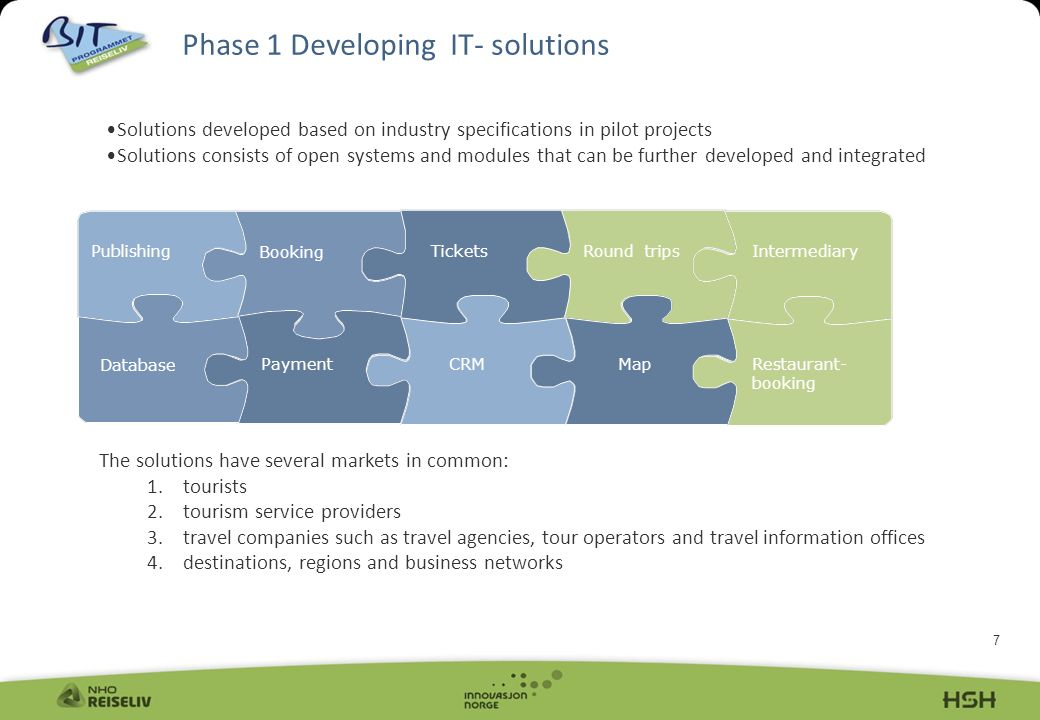 7 Phase 1 Developing IT- solutions Publishing Booking TicketsRound trips Map CRM Payment Database Intermediary Restaurant- booking The solutions have several markets in common: 1.tourists 2.tourism service providers 3.travel companies such as travel agencies, tour operators and travel information offices 4.destinations, regions and business networks Solutions developed based on industry specifications in pilot projects Solutions consists of open systems and modules that can be further developed and integrated