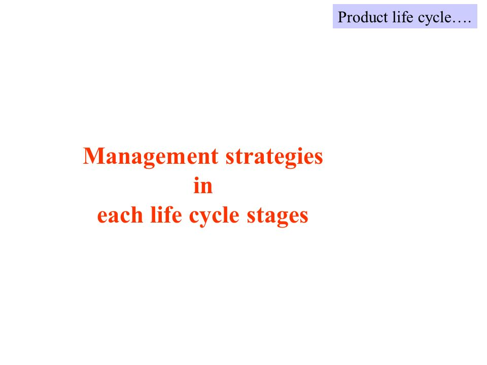 Management strategies in each life cycle stages Product life cycle….