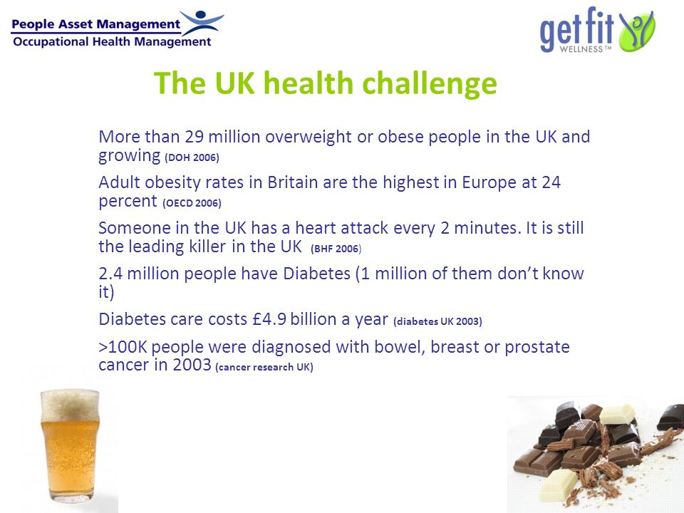 The UK health challenge More than 29 million overweight or obese people in the UK and growing (DOH 2006) Adult obesity rates in Britain are the highest in Europe at 24 percent (OECD 2006) Someone in the UK has a heart attack every 2 minutes.