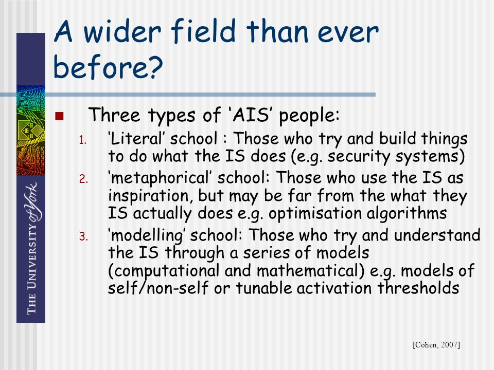 A wider field than ever before. Three types of AIS people: 1.