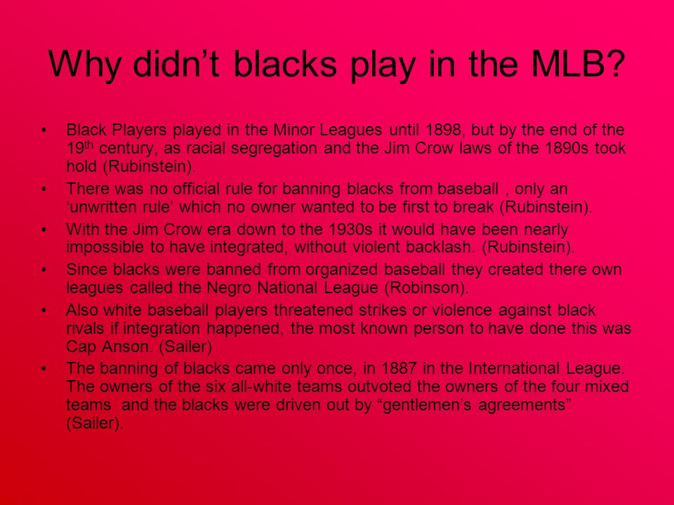 Why didnt blacks play in the MLB.