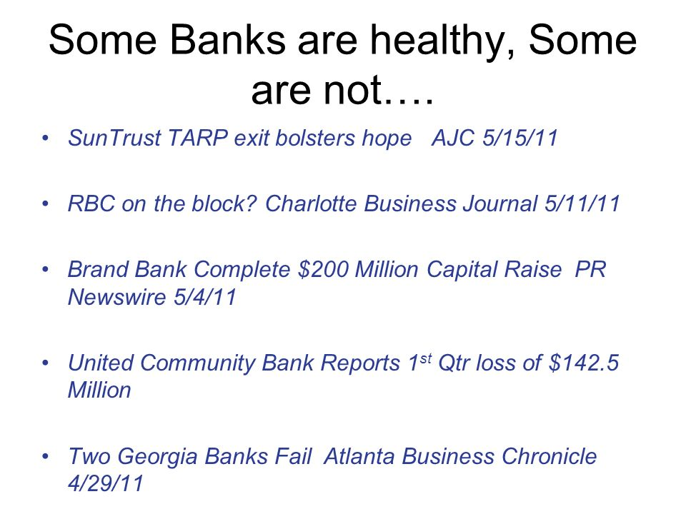 Some Banks are healthy, Some are not….