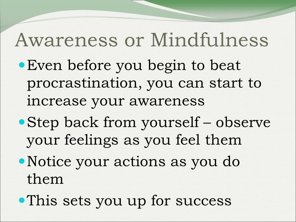 Awareness or Mindfulness Even before you begin to beat procrastination, you can start to increase your awareness Step back from yourself – observe your feelings as you feel them Notice your actions as you do them This sets you up for success
