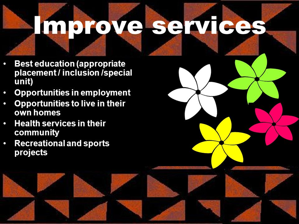 Best education (appropriate placement / inclusion /special unit) Opportunities in employment Opportunities to live in their own homes Health services in their community Recreational and sports projects Improve services