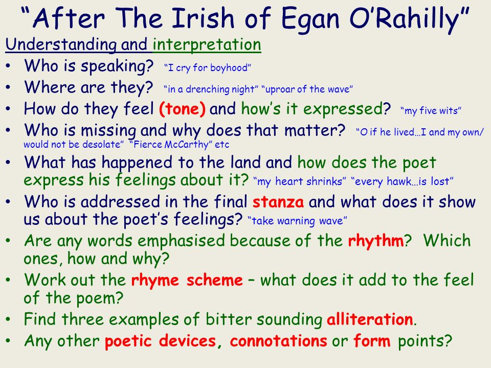 After The Irish of Egan ORahilly Understanding and interpretation Who is speaking.