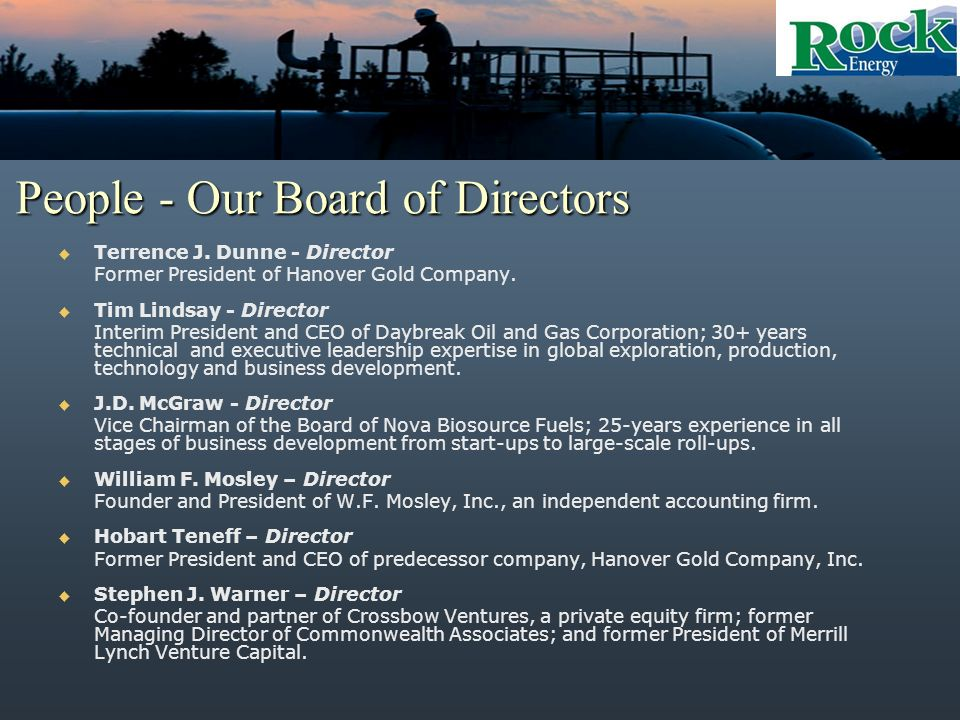 People - Our Board of Directors Terrence J.