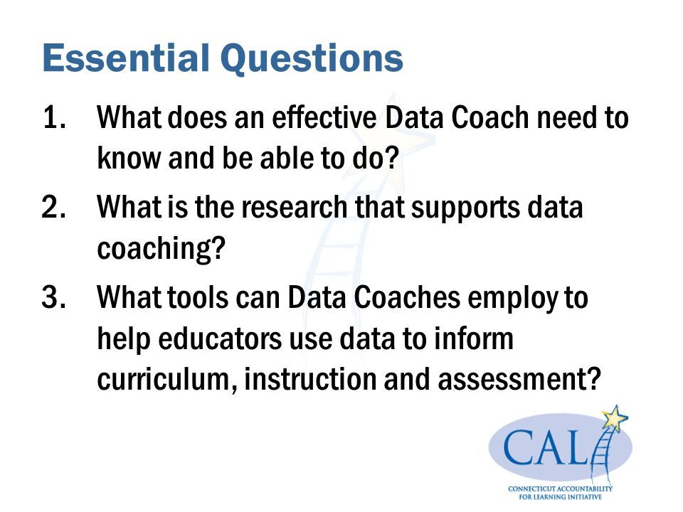 Essential Questions 1.What does an effective Data Coach need to know and be able to do.