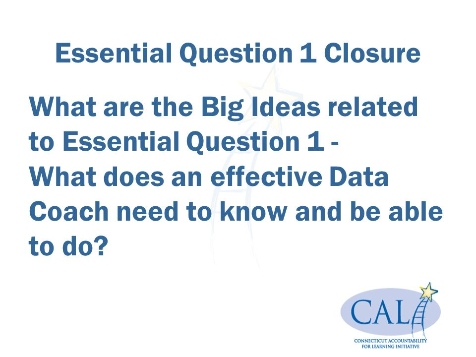What are the Big Ideas related to Essential Question 1 - What does an effective Data Coach need to know and be able to do.