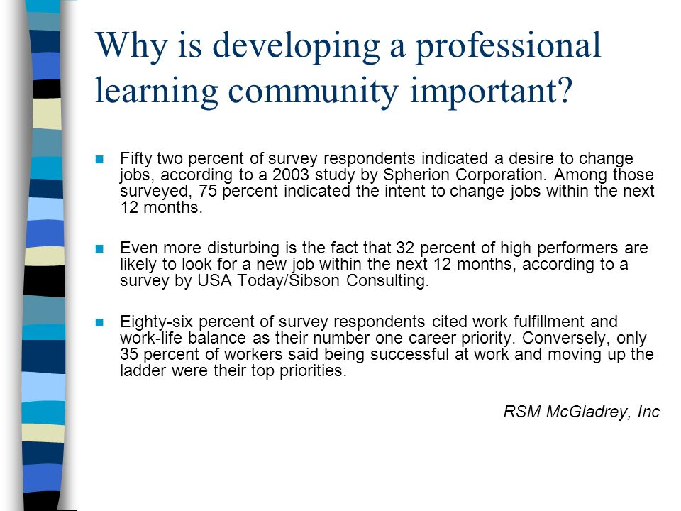 Why is developing a professional learning community important.