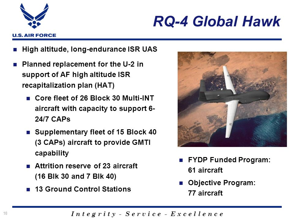 I n t e g r i t y - S e r v i c e - E x c e l l e n c e 18 RQ-4 Global Hawk High altitude, long-endurance ISR UAS Planned replacement for the U-2 in support of AF high altitude ISR recapitalization plan (HAT) Core fleet of 26 Block 30 Multi-INT aircraft with capacity to support 6- 24/7 CAPs Supplementary fleet of 15 Block 40 (3 CAPs) aircraft to provide GMTI capability Attrition reserve of 23 aircraft (16 Blk 30 and 7 Blk 40) 13 Ground Control Stations FYDP Funded Program: 61 aircraft Objective Program: 77 aircraft