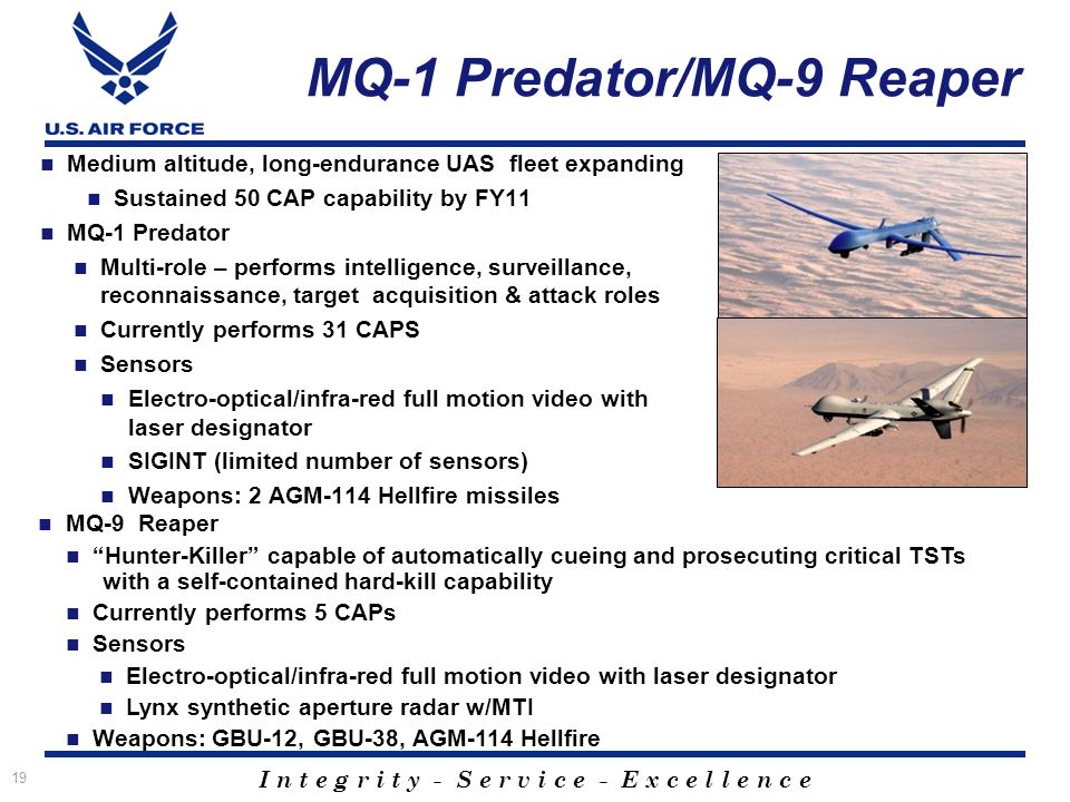 I n t e g r i t y - S e r v i c e - E x c e l l e n c e 19 MQ-1 Predator/MQ-9 Reaper Medium altitude, long-endurance UAS fleet expanding Sustained 50 CAP capability by FY11 MQ-1 Predator Multi-role – performs intelligence, surveillance, reconnaissance, target acquisition & attack roles Currently performs 31 CAPS Sensors Electro-optical/infra-red full motion video with laser designator SIGINT (limited number of sensors) Weapons: 2 AGM-114 Hellfire missiles MQ-9 Reaper Hunter-Killer capable of automatically cueing and prosecuting critical TSTs with a self-contained hard-kill capability Currently performs 5 CAPs Sensors Electro-optical/infra-red full motion video with laser designator Lynx synthetic aperture radar w/MTI Weapons: GBU-12, GBU-38, AGM-114 Hellfire