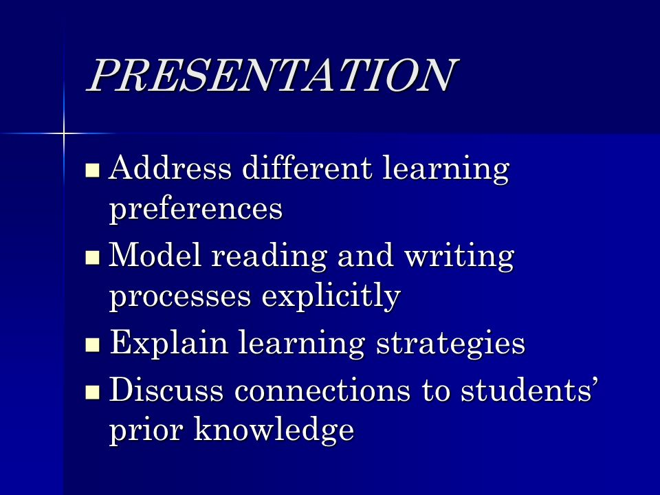 PRESENTATION Address different learning preferences Address different learning preferences Model reading and writing processes explicitly Model reading and writing processes explicitly Explain learning strategies Explain learning strategies Discuss connections to students prior knowledge Discuss connections to students prior knowledge