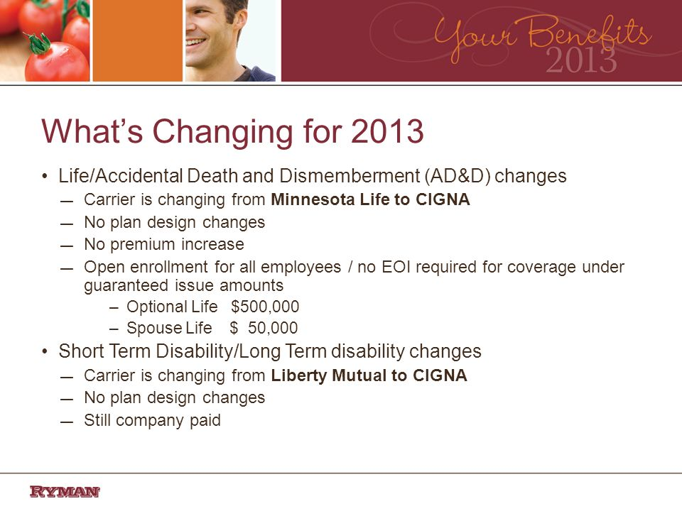 Whats Changing for 2013 Life/Accidental Death and Dismemberment (AD&D) changes Carrier is changing from Minnesota Life to CIGNA No plan design changes No premium increase Open enrollment for all employees / no EOI required for coverage under guaranteed issue amounts –Optional Life $500,000 –Spouse Life $ 50,000 Short Term Disability/Long Term disability changes Carrier is changing from Liberty Mutual to CIGNA No plan design changes Still company paid