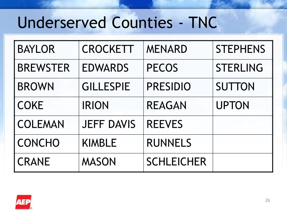 26 Underserved Counties - TNC BAYLORCROCKETTMENARDSTEPHENS BREWSTEREDWARDSPECOSSTERLING BROWNGILLESPIEPRESIDIOSUTTON COKEIRIONREAGANUPTON COLEMANJEFF DAVISREEVES CONCHOKIMBLERUNNELS CRANEMASONSCHLEICHER