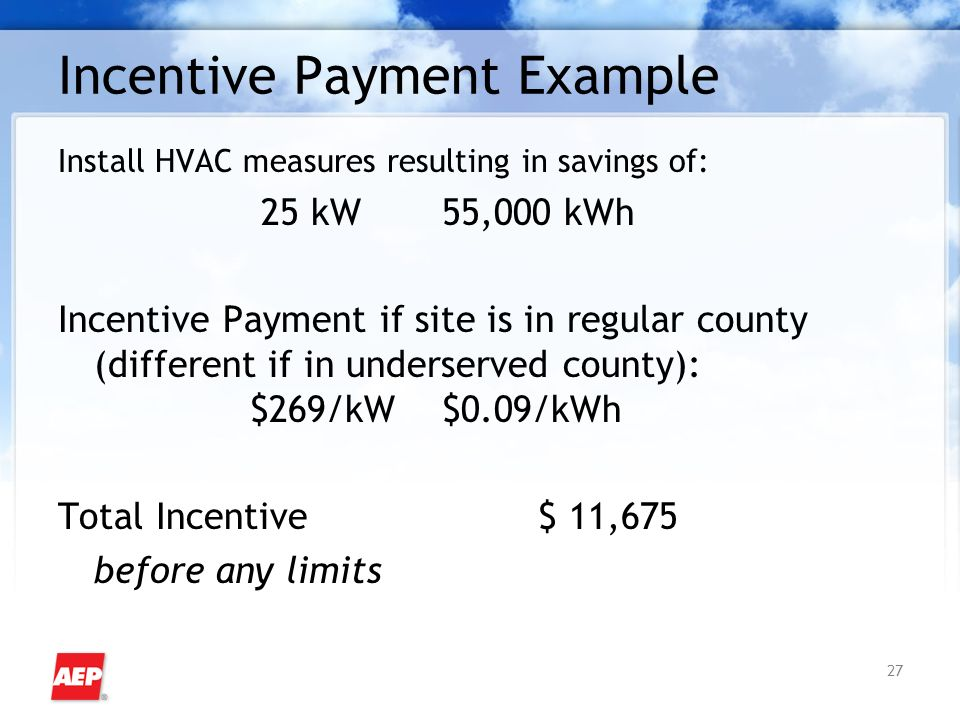 27 Incentive Payment Example Install HVAC measures resulting in savings of: 25 kW 55,000 kWh Incentive Payment if site is in regular county (different if in underserved county): $269/kW$0.09/kWh Total Incentive $ 11,675 before any limits