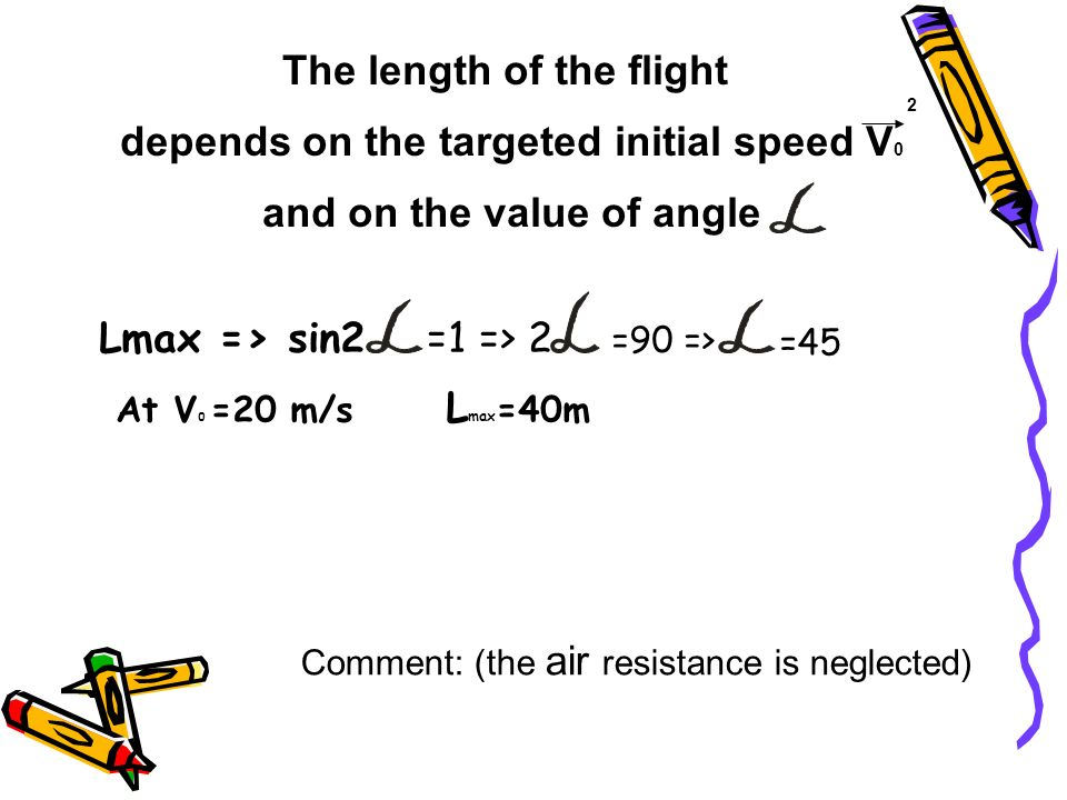 The length of the flight 2 depends on the targeted initial speed V 0 and on the value of angle Lmax => sin2=1 => 2 =90 => =45 At V 0 =20 m/s L max =40m Comment: (the air resistance is neglected)