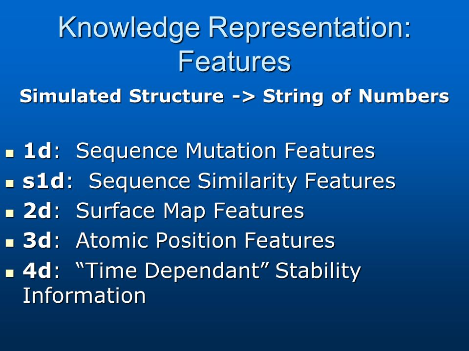 Knowledge Representation: Features Simulated Structure -> String of Numbers 1d: Sequence Mutation Features 1d: Sequence Mutation Features s1d: Sequence Similarity Features s1d: Sequence Similarity Features 2d: Surface Map Features 2d: Surface Map Features 3d: Atomic Position Features 3d: Atomic Position Features 4d: Time Dependant Stability Information 4d: Time Dependant Stability Information