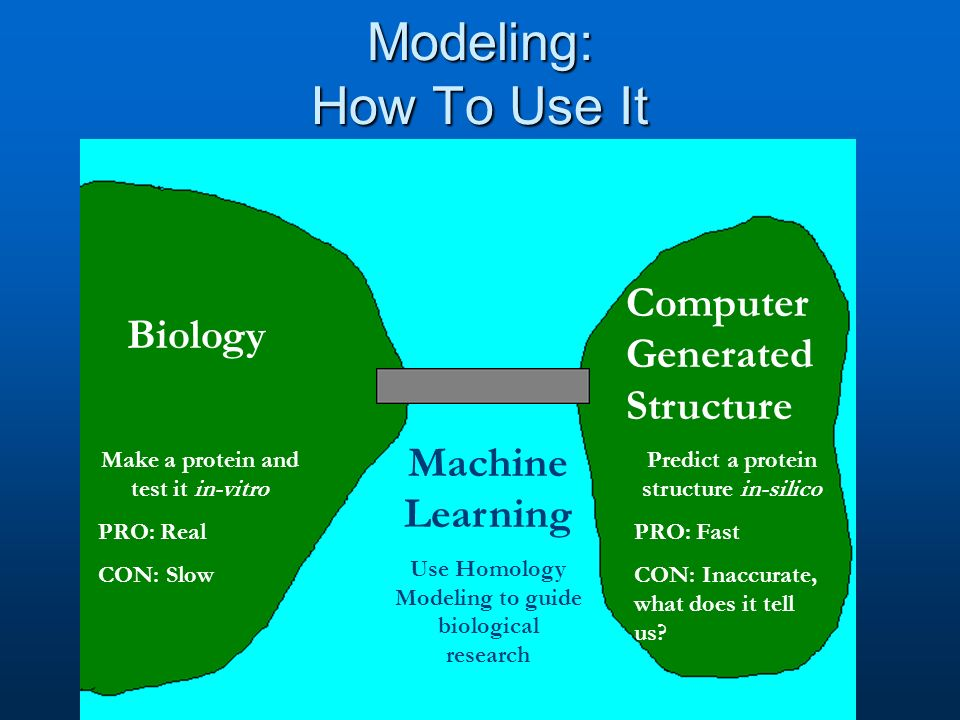 Modeling: How To Use It Biology Computer Generated Structure Make a protein and test it in-vitro PRO: Real CON: Slow Predict a protein structure in-silico PRO: Fast CON: Inaccurate, what does it tell us.