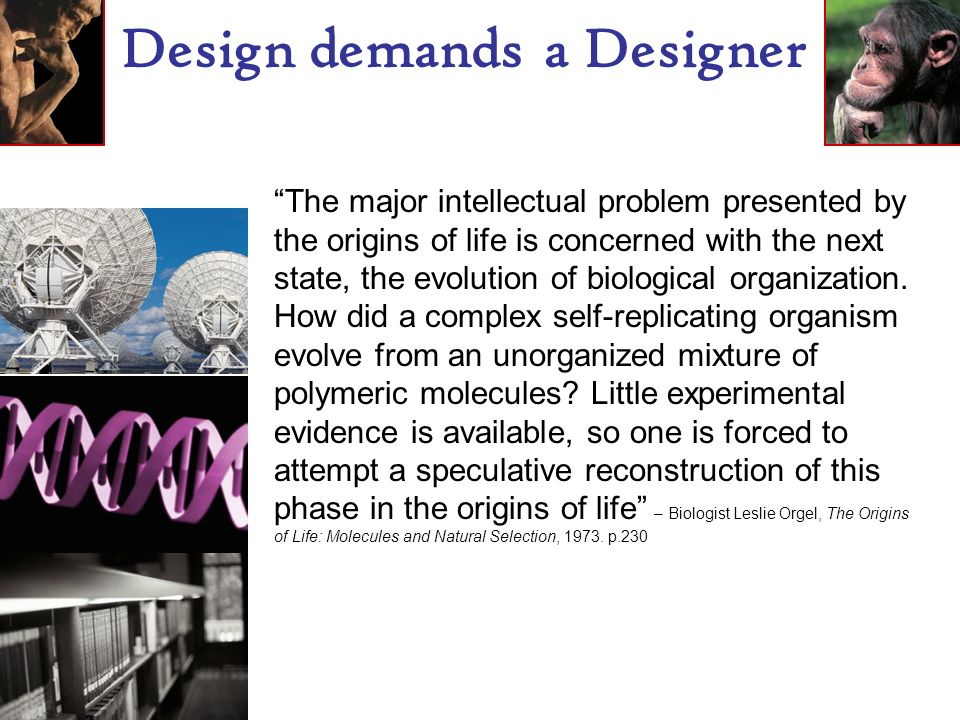 Design demands a Designer The major intellectual problem presented by the origins of life is concerned with the next state, the evolution of biological organization.