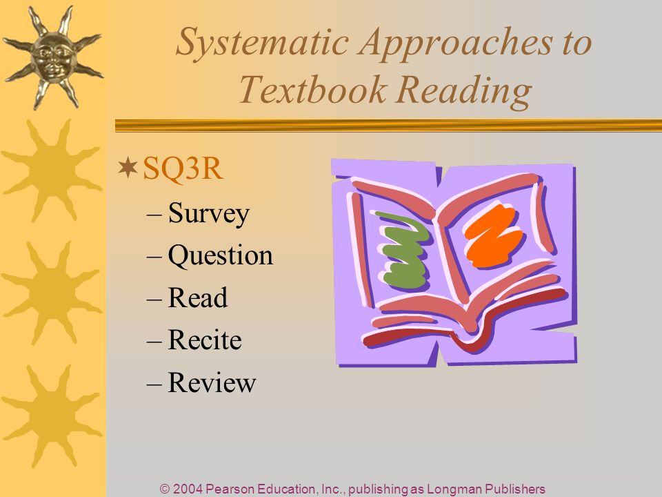 © 2004 Pearson Education, Inc., publishing as Longman Publishers Systematic Approaches to Textbook Reading SQ3R –Survey –Question –Read –Recite –Review