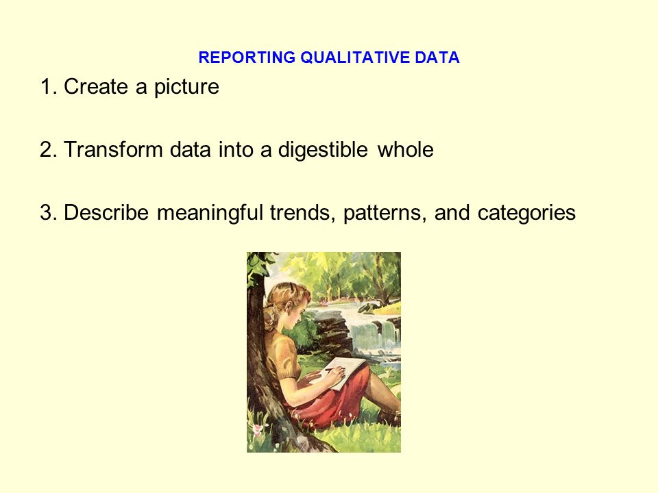 REPORTING QUALITATIVE DATA 1. Create a picture 2.