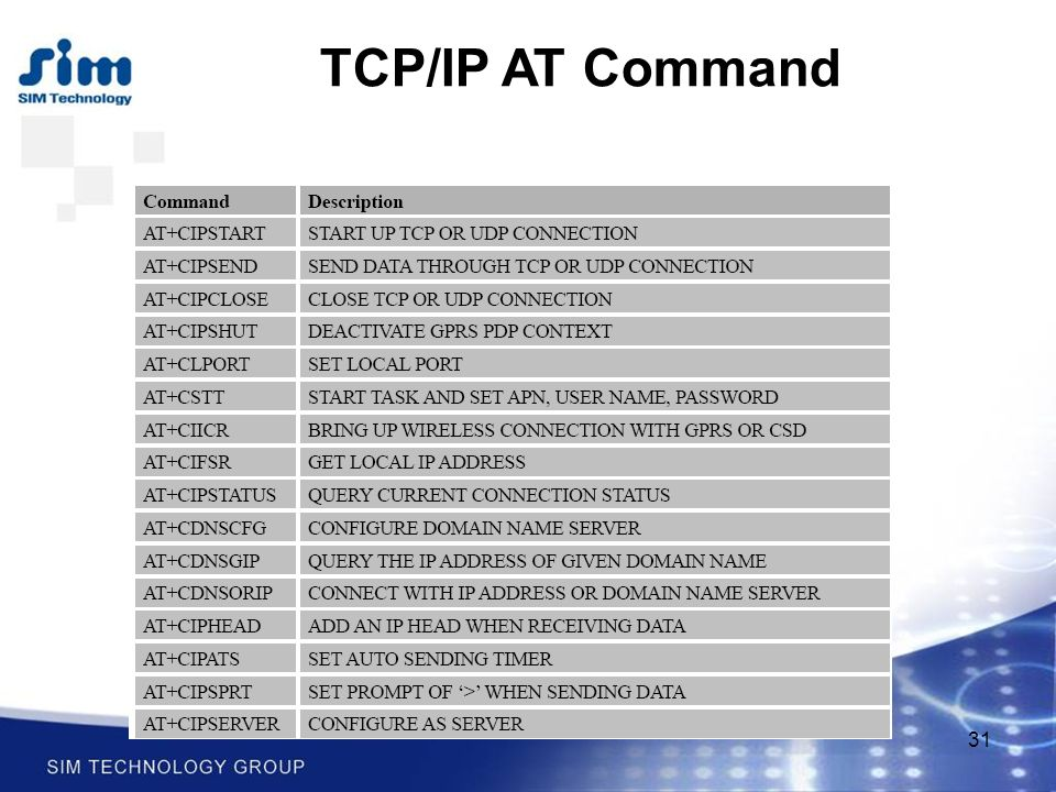 31 TCP/IP AT Command