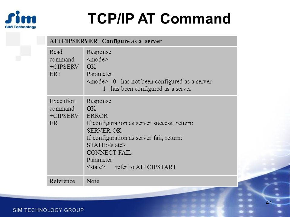 41 TCP/IP AT Command AT+CIPSERVER Configure as a server Read command +CIPSERV ER.