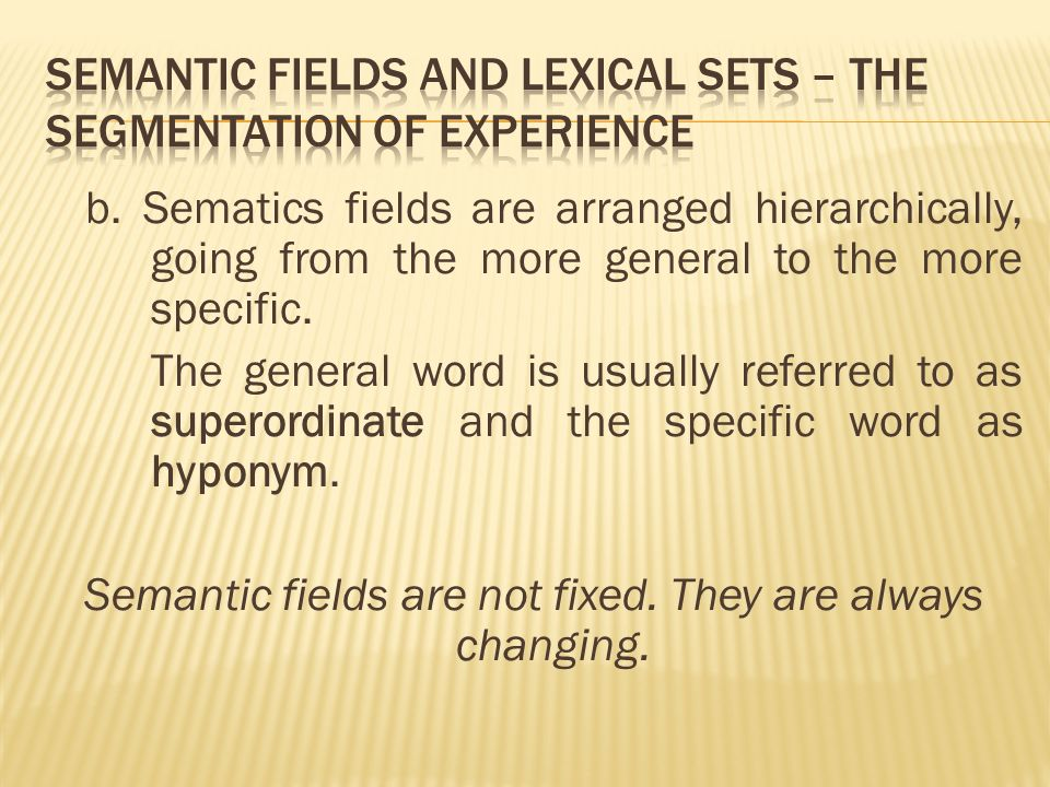 b. Sematics fields are arranged hierarchically, going from the more general to the more specific.