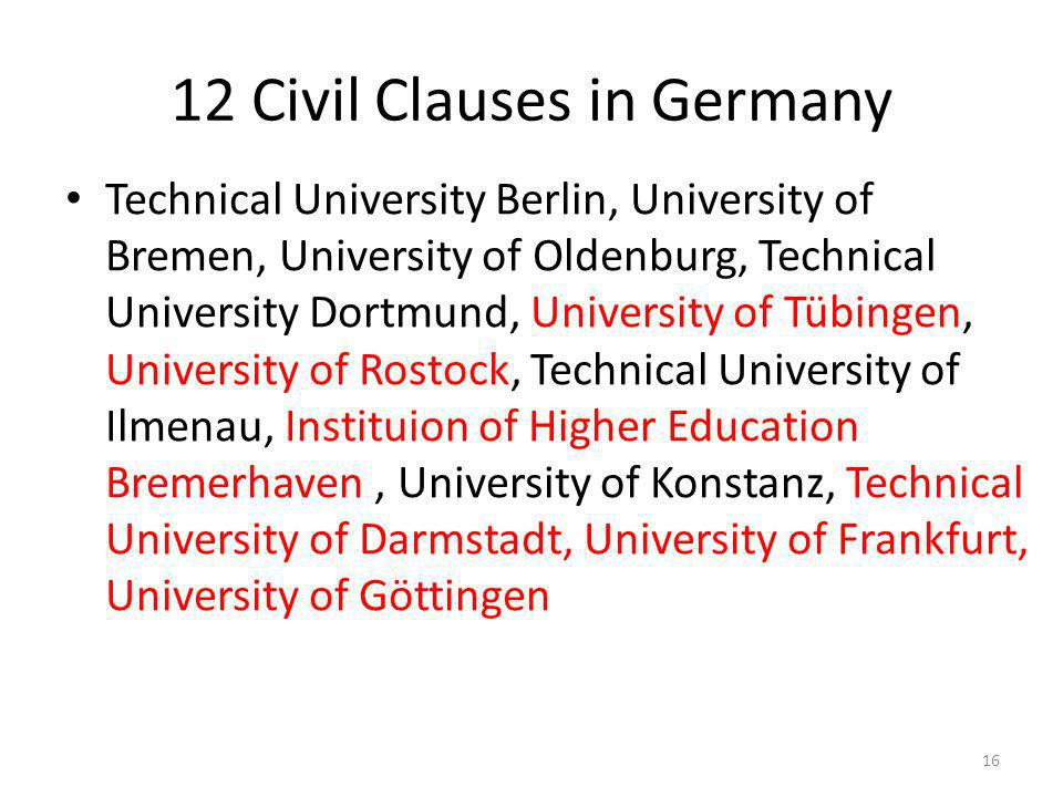 12 Civil Clauses in Germany Technical University Berlin, University of Bremen, University of Oldenburg, Technical University Dortmund, University of Tübingen, University of Rostock, Technical University of Ilmenau, Instituion of Higher Education Bremerhaven, University of Konstanz, Technical University of Darmstadt, University of Frankfurt, University of Göttingen 16