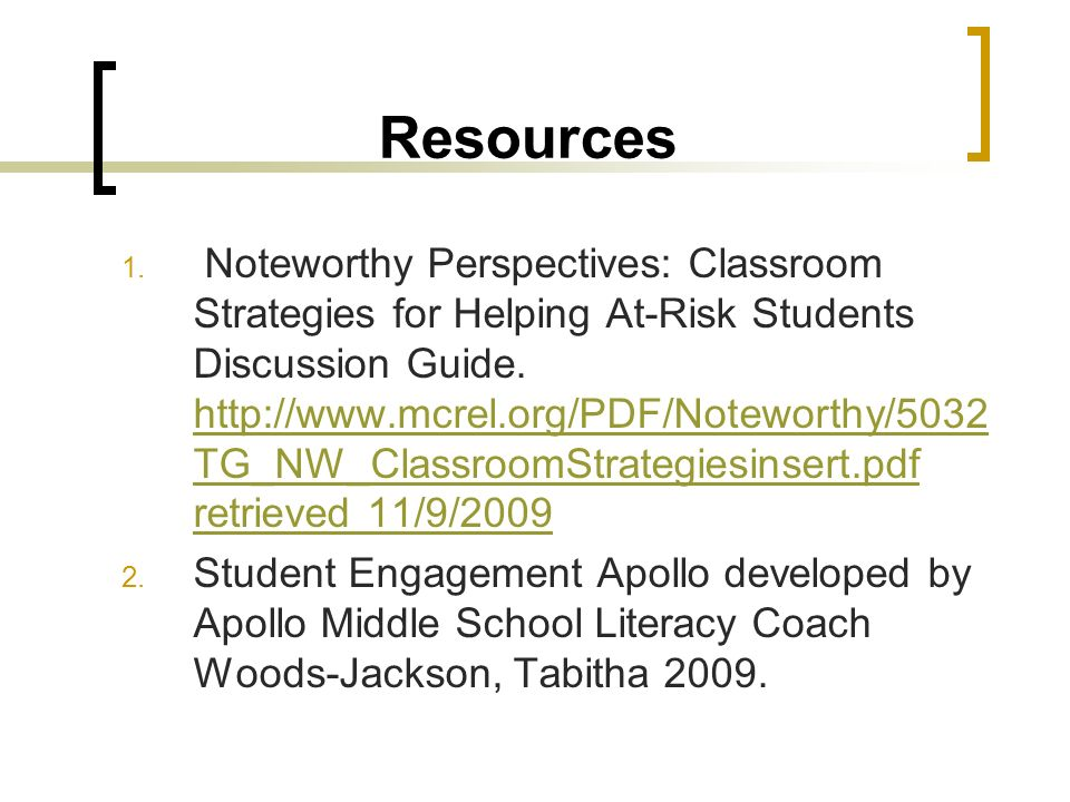 Teaching Strategies & Student Engagement for At Risk