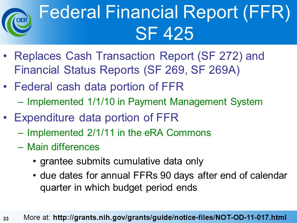 33 Federal Financial Report (FFR) SF 425 Replaces Cash Transaction Report (SF 272) and Financial Status Reports (SF 269, SF 269A) Federal cash data portion of FFR –Implemented 1/1/10 in Payment Management System Expenditure data portion of FFR –Implemented 2/1/11 in the eRA Commons –Main differences grantee submits cumulative data only due dates for annual FFRs 90 days after end of calendar quarter in which budget period ends More at: