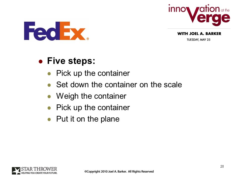 Five steps: Pick up the container Set down the container on the scale Weigh the container Pick up the container Put it on the plane 20