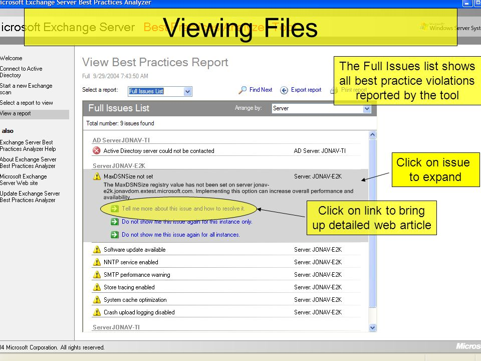 Viewing Files The Full Issues list shows all best practice violations reported by the tool Click on issue to expand Click on link to bring up detailed web article