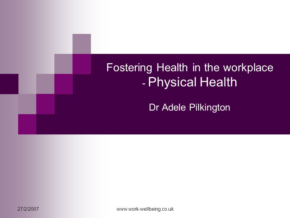 27/2/2007www.work-wellbeing.co.uk Fostering Health in the workplace - Physical Health Dr Adele Pilkington