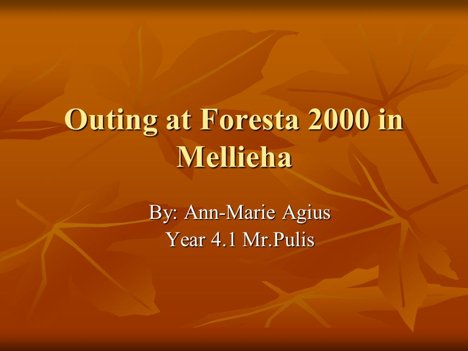 Outing at Foresta 2000 in Mellieha By: Ann-Marie Agius Year 4.1 Mr.Pulis