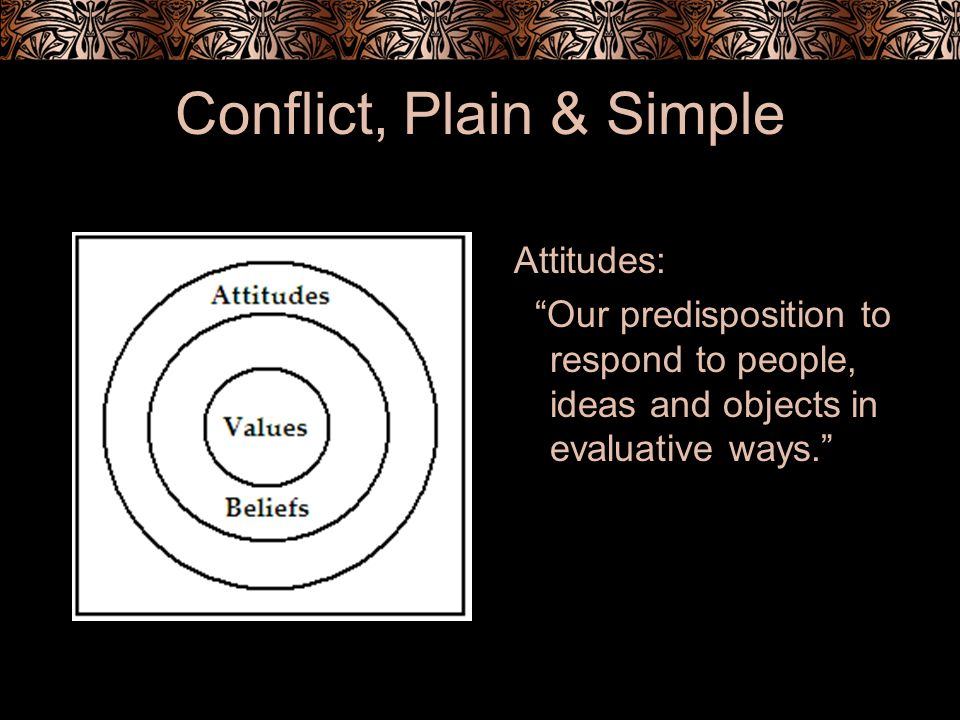 Conflict, Plain & Simple Attitudes: Our predisposition to respond to people, ideas and objects in evaluative ways.