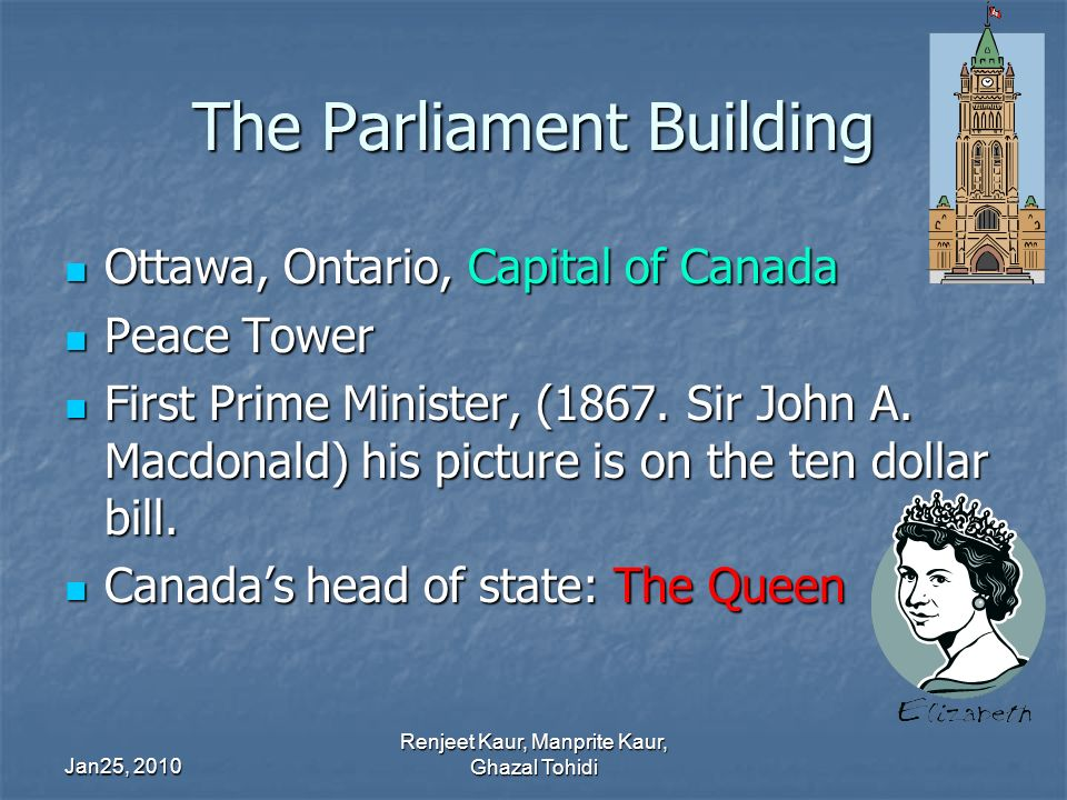The Parliament Building Ottawa, Ontario, Capital of Canada Ottawa, Ontario, Capital of Canada Peace Tower Peace Tower First Prime Minister, (1867.