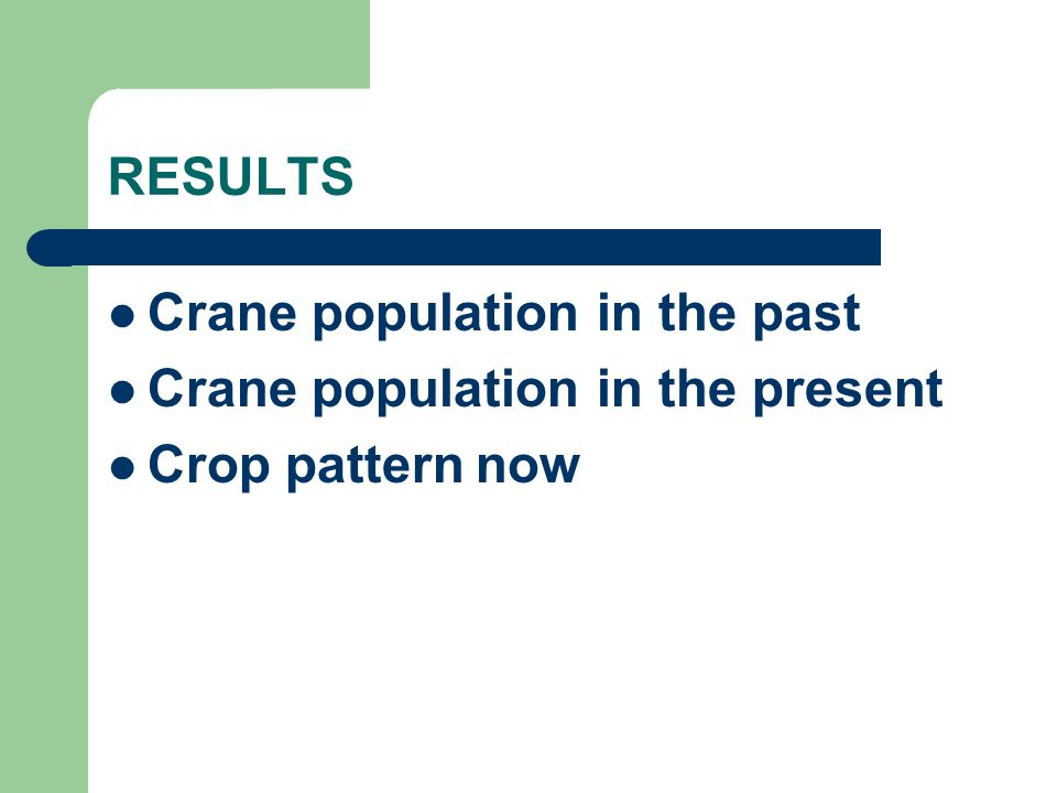RESULTS Crane population in the past Crane population in the present Crop pattern now