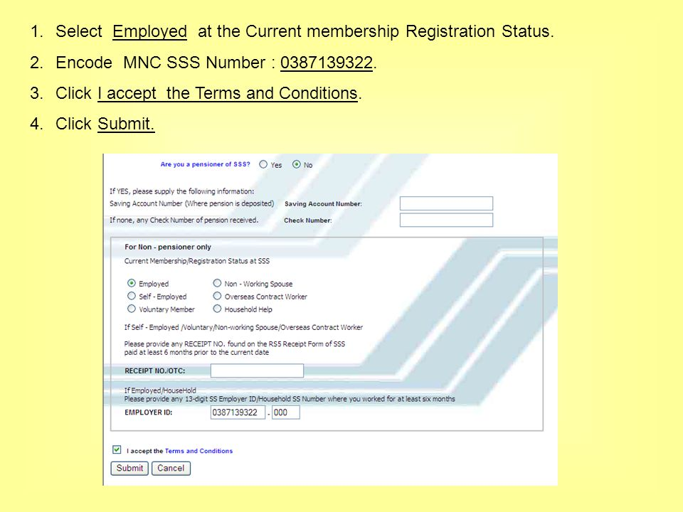 1.Select Employed at the Current membership Registration Status.