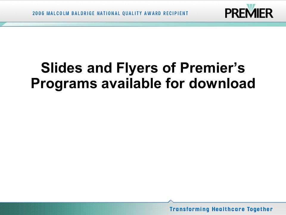 Slides and Flyers of Premiers Programs available for download