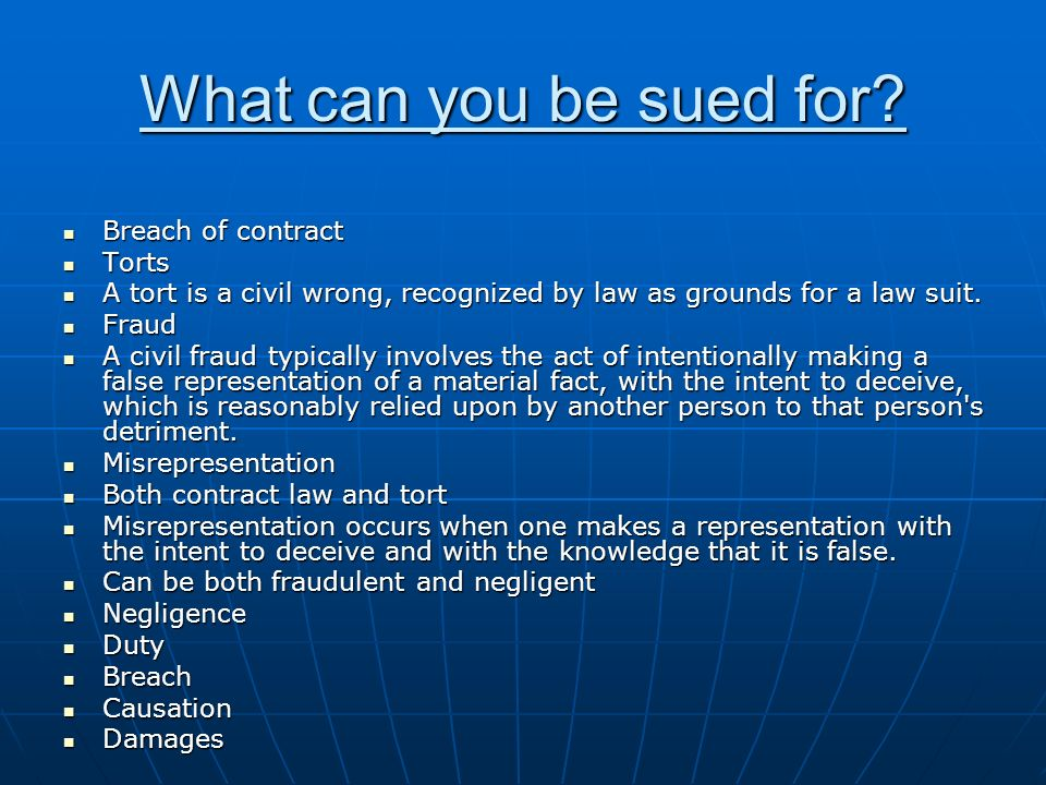 What can you be sued for.