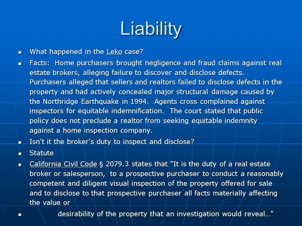 Liability What happened in the Leko case. What happened in the Leko case.