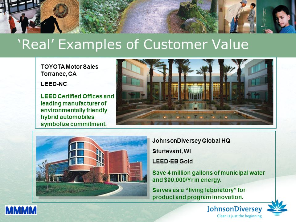 34 Real Examples of Customer Value JohnsonDiversey Global HQ Sturtevant, WI LEED-EB Gold Save 4 million gallons of municipal water and $90,000/Yr in energy.