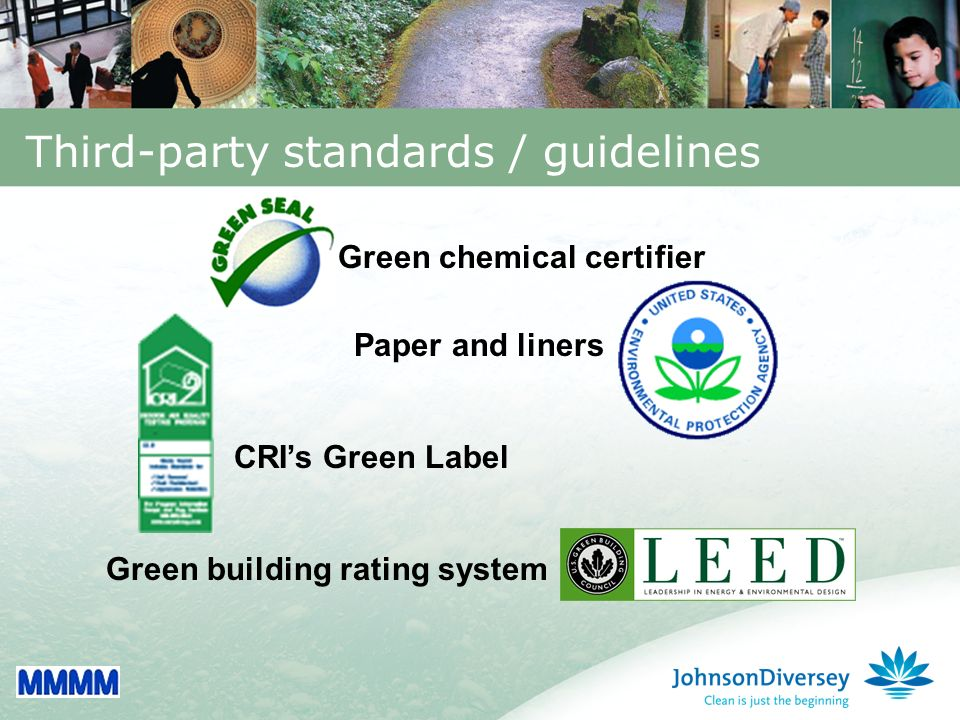 6 Third-party standards / guidelines Green building rating system Green chemical certifier Paper and liners CRIs Green Label