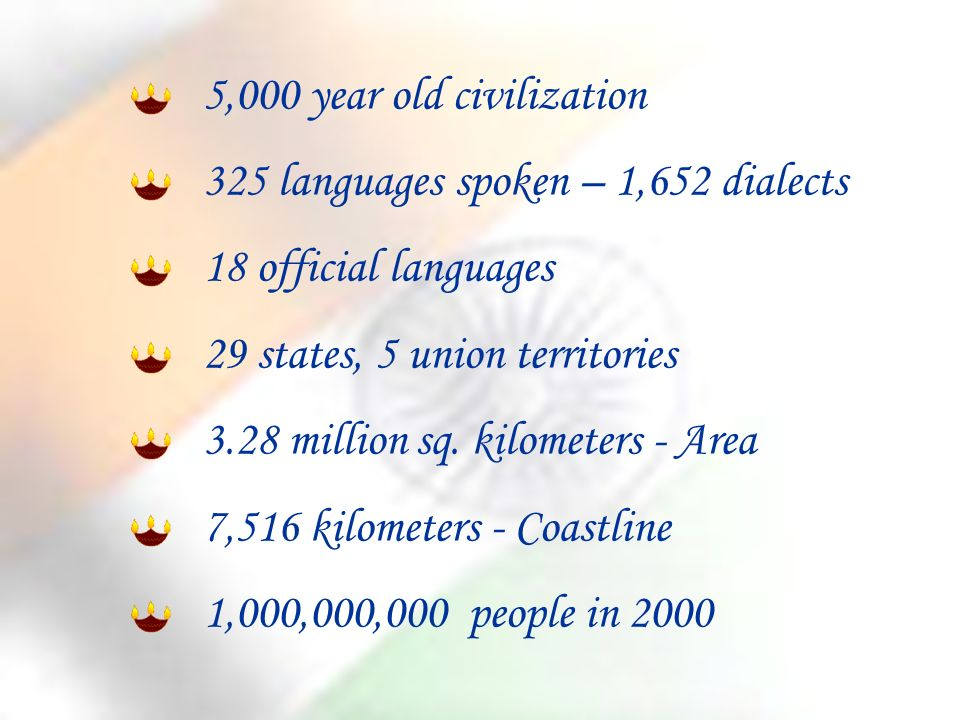 5,000 year old civilization 325 languages spoken – 1,652 dialects 18 official languages 29 states, 5 union territories 3.28 million sq.