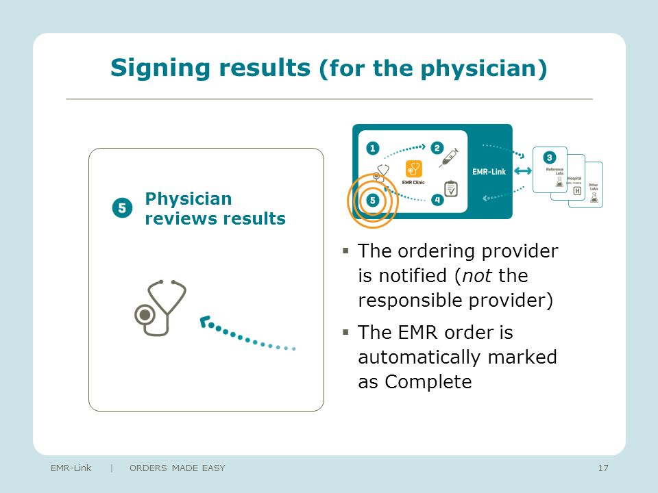 Signing results (for the physician) The ordering provider is notified (not the responsible provider) The EMR order is automatically marked as Complete EMR-Link | ORDERS MADE EASY17 Physician reviews results