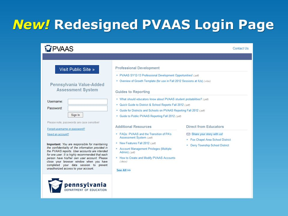 New! Redesigned PVAAS Login Page